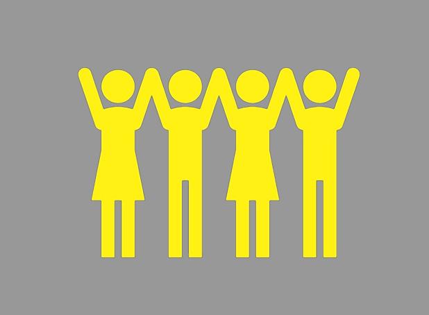 men and women raising hands icon